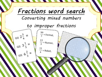 Fractions Word Search - Converting Mixed Numbers to Improper Fractions