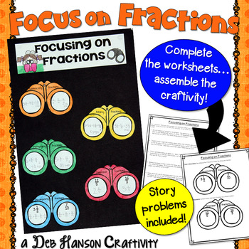 Fractions Craftivity: Story Problems, Improper Fractions, and Decomposing
