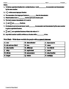 Fractions Crossword Puzzle