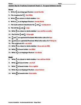 Fractions Crossword Puzzle II