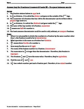 Fractions Crossword Puzzle III