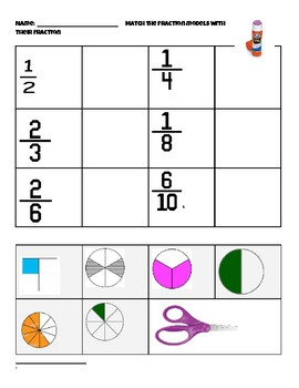 Fractions Cut and Glue worksheet