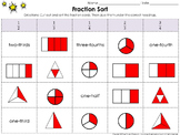 Fractions: Cut and Paste Sort Activity 1/2, 1/3, 1/4, 2/3, 3/4 - King Virtue