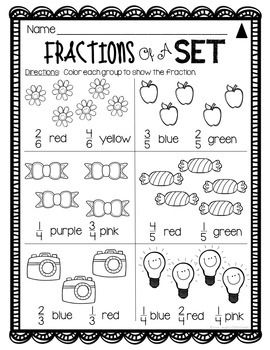 Fraction Worksheets 2nd Grade DIFFERENTIATED Leveled ...