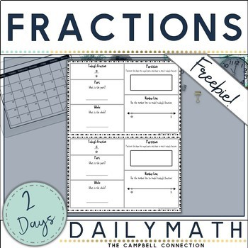 Fractions Daily Math Freebie!
