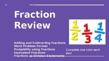 Fractions Review - Adding, Subtracting, Word Problems, Equivalent, Probability
