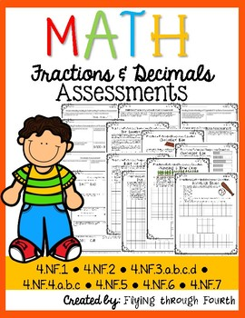 Fractions & Decimals Assessments {4th Grade) Common Core