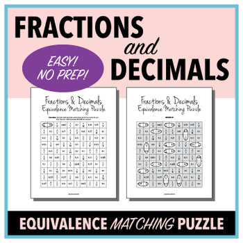 Fractions & Decimals Equivalence Matching Puzzle