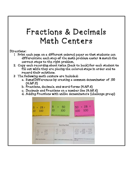 Fractions & Decimals Math Centers