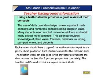 Grade 5 COMMON CORE MATH CALENDAR: Fractions & Decimals w/Concrete rep.