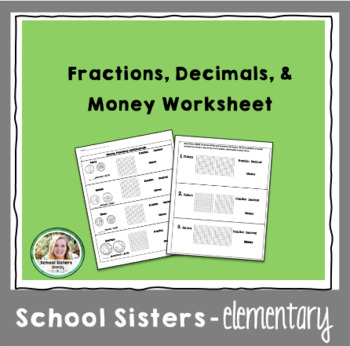 Fractions, Decimals, & Money Worksheet by Bee A Learner | TpT