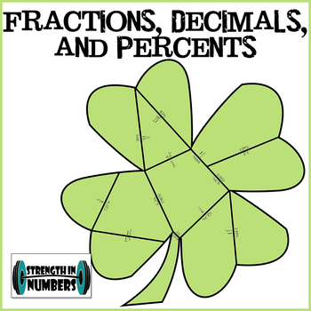 Fractions, Decimals, Percent Coversions St. Patrick's Day Shamrock Puzzle