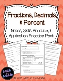 Fractions, Decimals, & Percent - Notes, Practice, and Application Pack