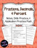 Fractions, Decimals, & Percent - Notes, Practice, and Appl