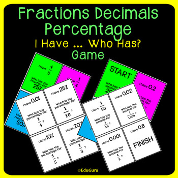 Fractions Decimals Percentage I have who has Game