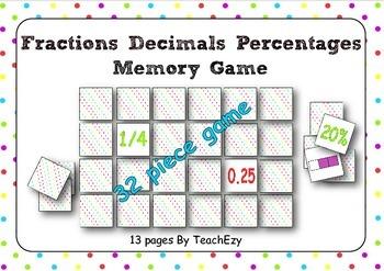 Fractions Decimals Percentage Memory Game