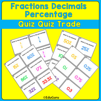 Fractions Decimals Percentage Quiz Quiz Trade Game