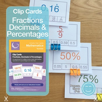 Fractions, Decimals & Percentages Clip Cards