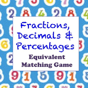 Fractions, Decimals & Percentages - Equivalency Activity