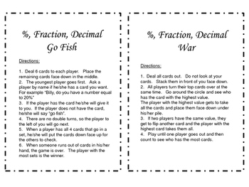 Decimals, Fractions and Percents Card Game