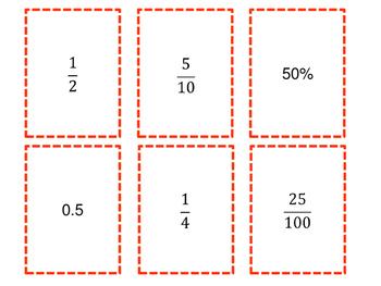Decimals, Fractions and Percents Card Game