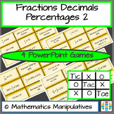 Fractions Decimals Percentages Tic Tac Toe PowerPoint Games 2