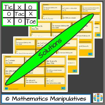 Fractions Decimals Percentages Tic Tac Toe PowerPoint Games 2
