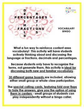 Fractions, Decimals & Percentages Vocabulary Bingo