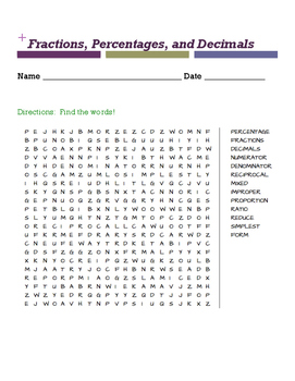 Fractions, Decimals, & Percentages WORD SEARCH