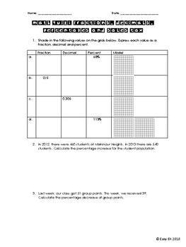 Fractions, Decimals, Percentages and Sales Tax Quiz