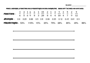 Fractions  Decimals  Percentages Number Lines Worksheet By Fiona B