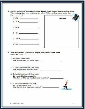 Fractions, Decimals and Percents: A Chapter Math Test - Form B