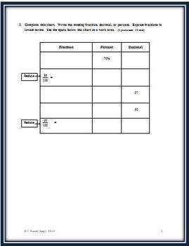 Fractions, Decimals and Percents: A Chapter Math Test - Form B
