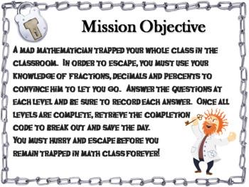 Fractions Decimals Percents Activity: Escape Room Math Game