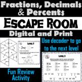 Converting Fractions, Decimals, and Percents Escape Room Math Game