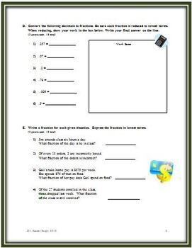 Fractions, Decimals and Percents: A Chapter Math Test - Form A