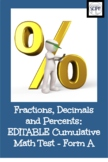 EDITABLE Fractions, Decimals and Percents: A Chapter Math Test - Form A