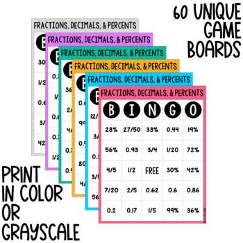 Fractions, Decimals, & Percents BINGO - Digital & Print Versions - NO PREP Game