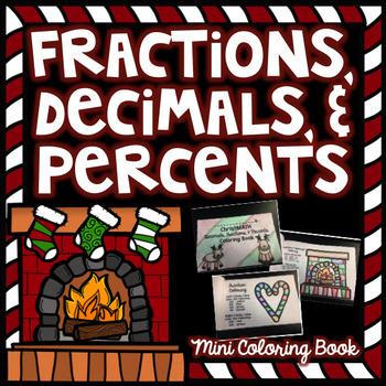 Fractions, Decimals, & Percents - Christmas Math Coloring Book