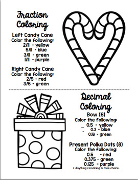 Fractions, Decimals, & Percents - Christmas Math Coloring Book