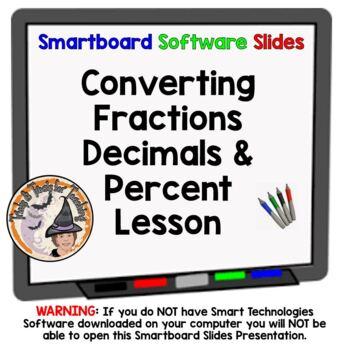 Fractions Decimals Percents Converting FDP Conversions Smartboard Lesson