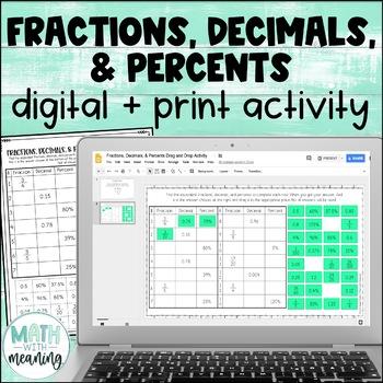 Fractions, Decimals, & Percents DIGITAL Drag and Drop Activity for Google™ Drive