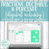 Fractions, Decimals, and Percents DIGITAL Activity for Google Drive & OneDrive