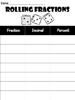 Fractions, Decimals, & Percents Dice Game