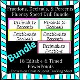 Editable Fractions Decimals Percents Fluency 18 PowerPoints