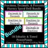 Editable Fractions Decimals Percents Fluency 18 PowerPoints