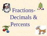 Holidays - Fractions, Decimals, Percents: With Bonus Fraction Bar PowerPoint