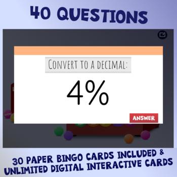 Fractions, Decimals, & Percents Interactive Bingo Review Game