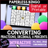 Fractions, Decimals & Percents Interactive Bingo Review Ga