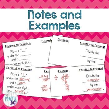 Fractions Decimals Percents Interactive Notebook Foldable